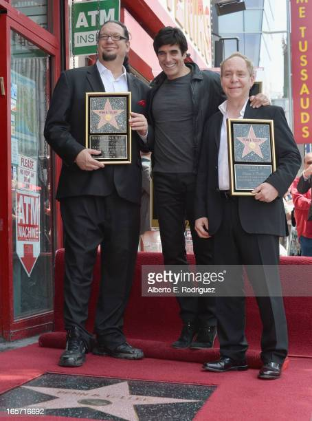 Magicians Penn Jillette David Copperfield and Teller attend a ceremony honoring Penn Teller with the 2494th star on the Hollywood Walk of Fame on...