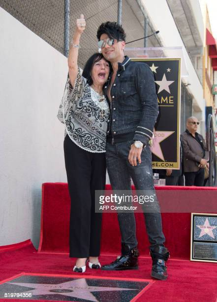 Magicien Criss Angel poses with his mother Dimitra Sarantakos during his star unveiling ceremony on the Hollywood Walk of Fame on July 20 in...