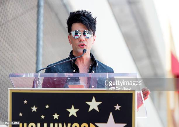 Magicien Criss Angel speaks during his star unveiling ceremony on the Hollywood Walk of Fame on July 20 in Hollywood California / AFP PHOTO / VALERIE...