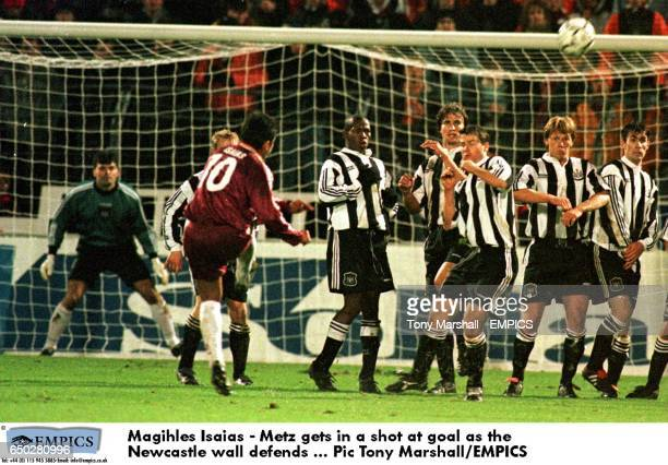 Magihles Isaias Metz gets in a shot at goal as the Newcastle wall defends