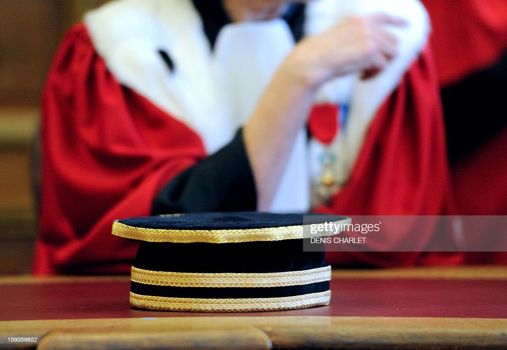A magistrate attends a formal sitting of the appeal court in Douai, northern France, on January 10, 2013, to mark the beginning of the court's judicial year.