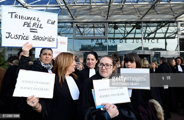 Magistrates of SeineSaintDenis' bar demonstrate in front of Bobigny's district court on February 15 to increase awareness on the lack of means within...