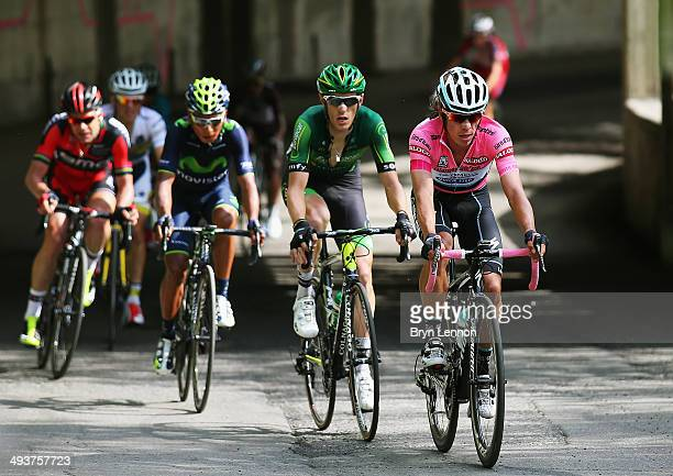 Maglia Rosa Rigoberto Uran of Colombia and Omega PharmaQuickstep leads Pierre Rolland of France and Europcar during the fifteenth stage of the 2014...