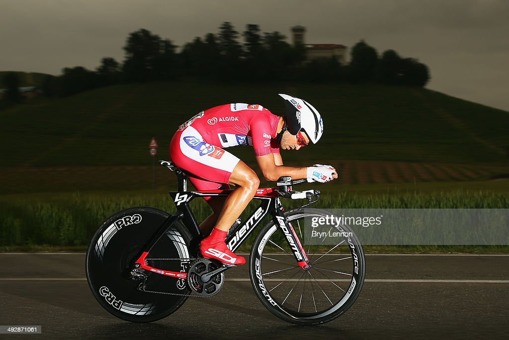 Maglia Rossa wearer and leader of the points classification <a gi-track='captionPersonalityLinkClicked' href=/galleries/search?phrase=Nacer+Bouhanni&family=editorial&specificpeople=8831629 ng-click='$event.stopPropagation()'>Nacer Bouhanni</a> of France and FDJ.fr in action during the twelfth stage of the 2014 Giro d'Italia, a 42km Individual Time Trial stage between Barbarasco and Barolo on May 22, 2014 in Barbarasco, Italy.