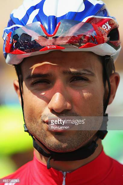 Maglia Rossa wearer and leader of the points classification Nacer Bouhanni of France and FDJfr looks on ahead of the fifteenth stage of the 2014 Giro...