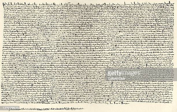 Magna Carta Signed June 1215 Document producecd by Barons of King John in order the enshrine certain freedoms and protections to the 'free men' of...