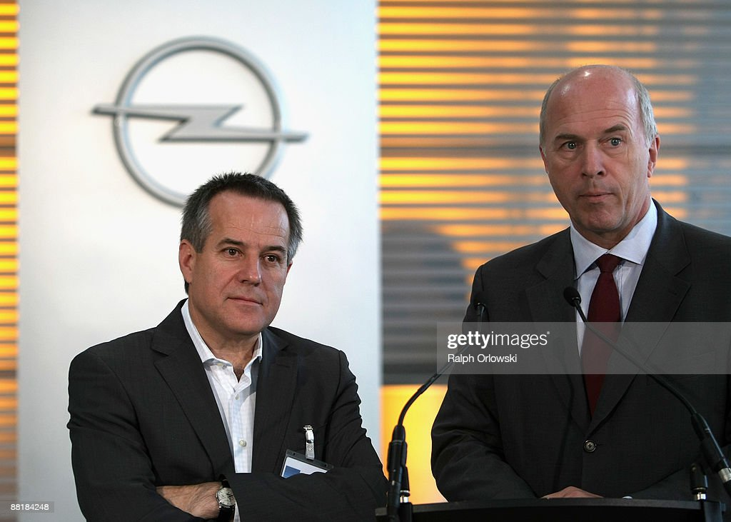 Magna Co-Chief Executive Siegfried Wolf (L) and Carl-Peter Forster, General Motors Europe President address to the media at the Opel headquarters on June 3, 2009 in Ruesselsheim near Frankfurt am Main, Germany. After tough negotiations Canadian car-parts maker Magna International Inc. was chosen to rescue General Motors European division, including Opel's locations in Kaiserslautern, Eisenach, Bochum and their headquarters in Ruesselsheim with bridge loans, provided by German government.