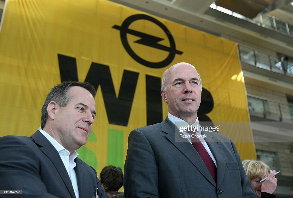 Magna Co-Chief Executive Siegfried Wolf (L) and Carl-Peter Forster, General Motors Europe President look on prior to a news conference at the Opel headquarters on June 3, 2009 in Ruesselsheim near Frankfurt am Main, Germany. After tough negotiations Canadian car-parts maker Magna International Inc. was chosen to rescue General Motors European division, including Opel's locations in Kaiserslautern, Eisenach, Bochum and their headquarters in Ruesselsheim with bridge loans, provided by German government.