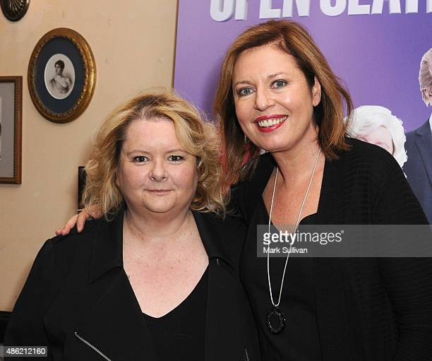 Magna Szubanski and Gina Riley arrive at The Print Room on September 2 2015 in Sydney Australia