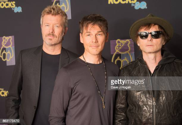 Magne Furuholmen Morten Harket and Paul WaaktaarSavoy of aha are pictured at BBC Children in Need Rocks the 80s at SSE Arena on October 19 2017 in...