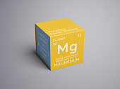 Magnesium. Alkaline earth metals. Chemical Element of Mendeleev's Periodic Table. in square cube creative concept.