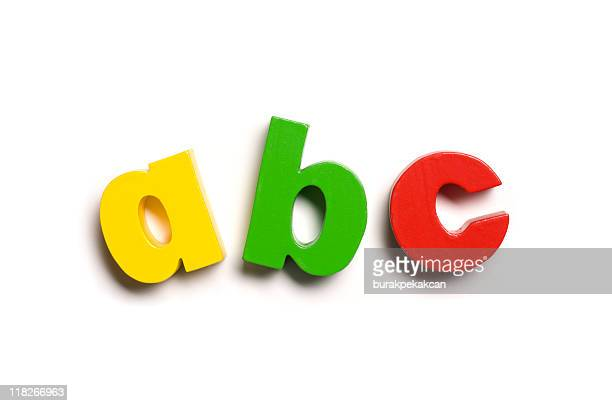 Magnetic letters, A B C, close-up