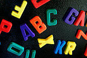 A bunch of magnetic letters on a refrigerator.  ABC spelled out in the middle.
