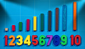 Magnetic numbers and a wooden toy with colorful pieces for the mathematical reasoning