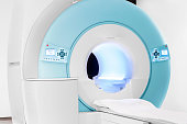 Image showing a new open bore MRI scanner in medical centre. Tight crop Horizontal.
