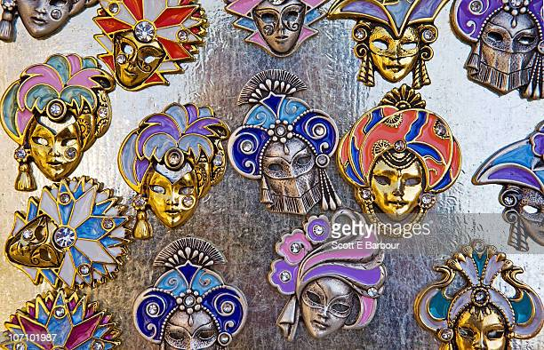 Magnets of Venetian masks on display