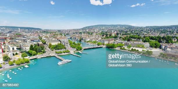 Magnificent Aerial View of Zurich, Switzerland in Summer