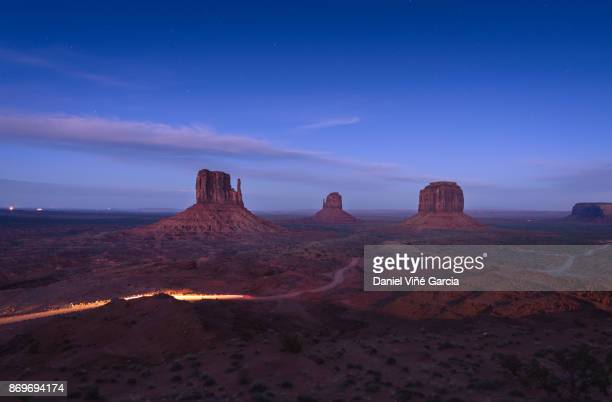 Magnificent landscape view of Monument Valley at night