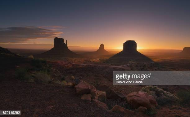 Magnificent landscape view of Monument Valley at sunset
