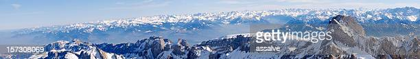 magnificent panorama over swiss and austria alps
