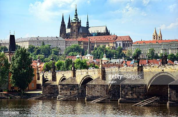 Magnificent view of ancient Charles Bridge of Prague
