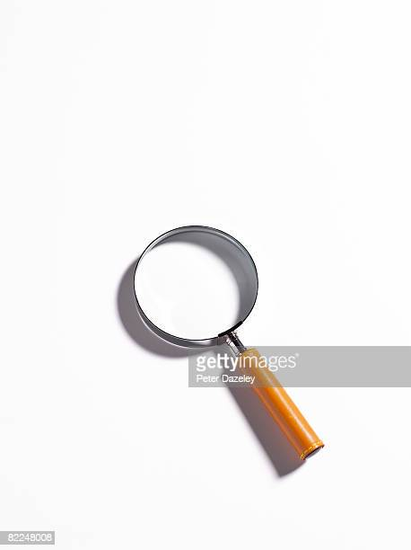Magnifier on white background with copy space