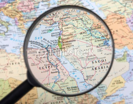 A Magnifier Zooming In Middle East Countries On A Global Map Stock ...