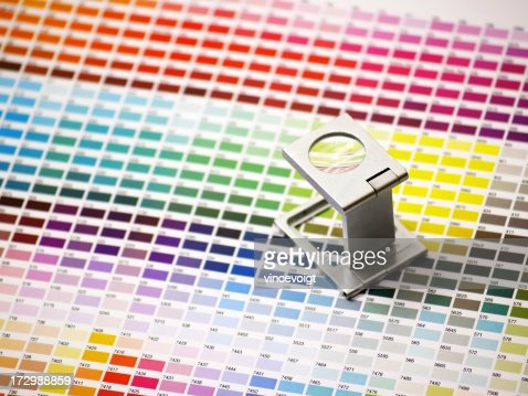 magnifying glass on color tables