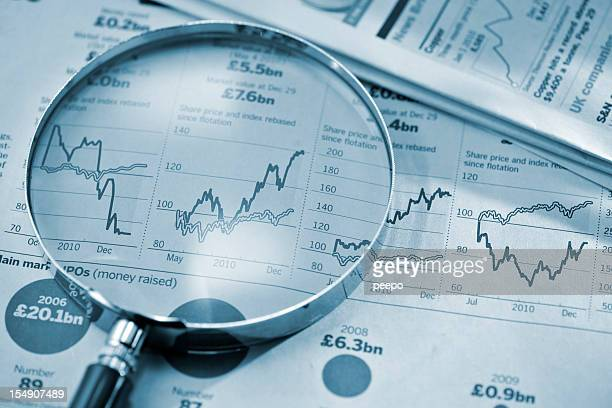 magnifying glass on stock price graphs