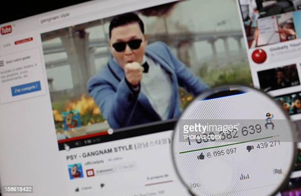 A magnifying glass shows the number of times that viewers have watched South Korean rapper Psy's video Gangnam style on YouTube on December 21 2012...