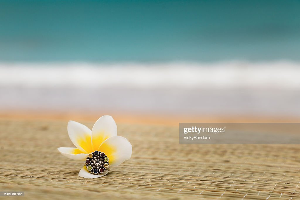 Magnolia flower with ring on seacoast background : Foto de stock