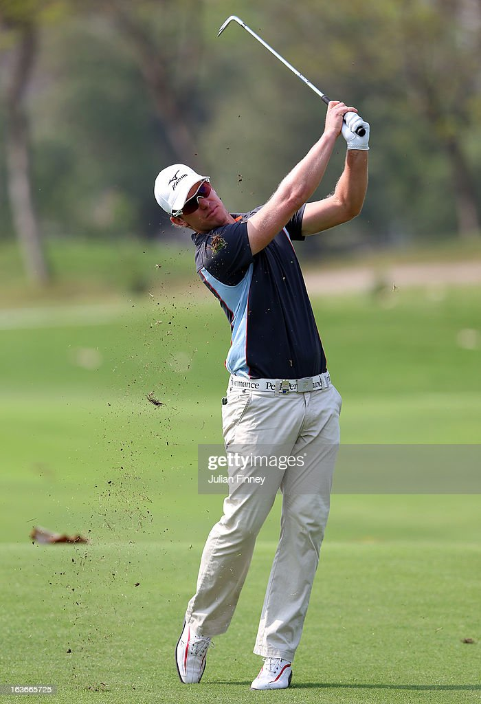 Magnus A Carlsson of Sweden in action during day one of the Avantha Masters at Jaypee Greens Golf Club on March 14, 2013 in Delhi, India.