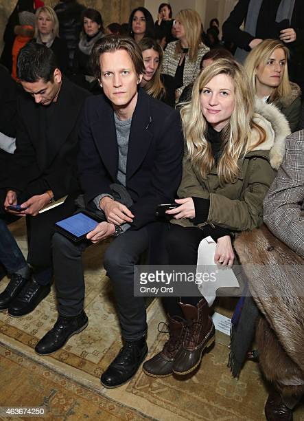 Magnus Berger and Jessica Diehl attend the Tory Burch fashion show during MercedesBenz Fashion Week Fall 2015 at 583 Park Avenue on February 17 2015...