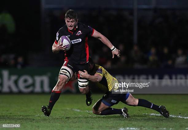 Magnus Bradbury of Edinburgh runs with the ball during the European Rugby Challenge Cup match between Edinburgh Rugby and Timisoara Saracens at...