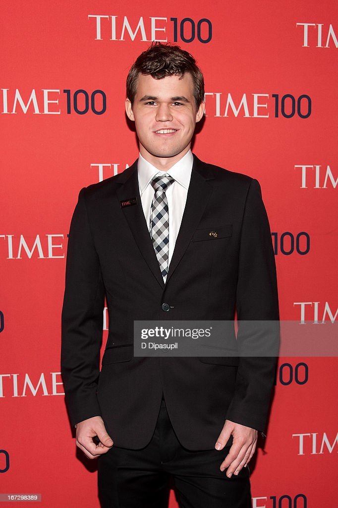 <a gi-track='captionPersonalityLinkClicked' href=/galleries/search?phrase=Magnus+Carlsen&family=editorial&specificpeople=2602660 ng-click='$event.stopPropagation()'>Magnus Carlsen</a> attends the 2013 Time 100 Gala at Frederick P. Rose Hall, Jazz at Lincoln Center on April 23, 2013 in New York City.