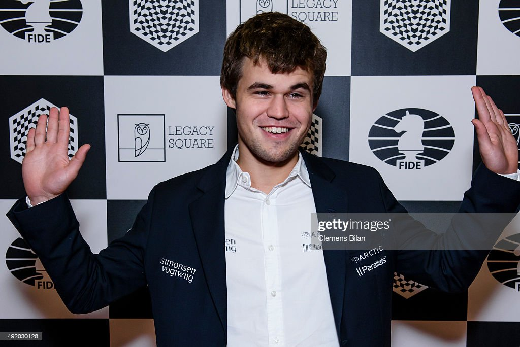 <a gi-track='captionPersonalityLinkClicked' href=/galleries/search?phrase=Magnus+Carlsen&family=editorial&specificpeople=2602660 ng-click='$event.stopPropagation()'>Magnus Carlsen</a> attends the opening ceremony of the World Rapid and Blitz Chess Championship and the special screening of 'Pawn Sacrifice' (german title: Bauernopfer - Spiel der Koenige) at Kino International on October 9, 2015 in Berlin, Germany.