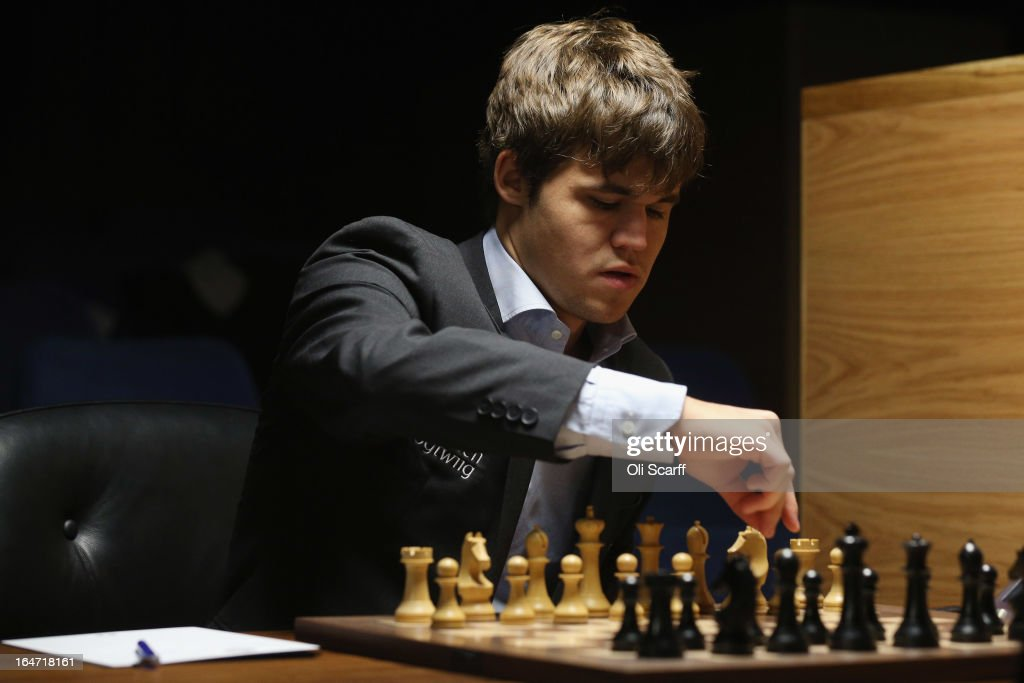 <a gi-track='captionPersonalityLinkClicked' href=/galleries/search?phrase=Magnus+Carlsen&family=editorial&specificpeople=2602660 ng-click='$event.stopPropagation()'>Magnus Carlsen</a>, the world's number one chess player, competes against Israel's Boris Gelfand in the Candidates Tournament at the IET on Savoy Place on March 27, 2013 in London, England. Carlsen, 22, from Norway, became the youngest player to be ranked world No.1 on January 1, 2010 and his current chess ranking (a peak rating of 2872) is the highest of all time. The Candidates Tournament features eight of the world's top chess players and will determine which player will challenge Viswanathan Anand for the title of World Champion in November 2013. The tournament will be the strongest of its kind in history and have a total prize fund of 510,000 Euros.
