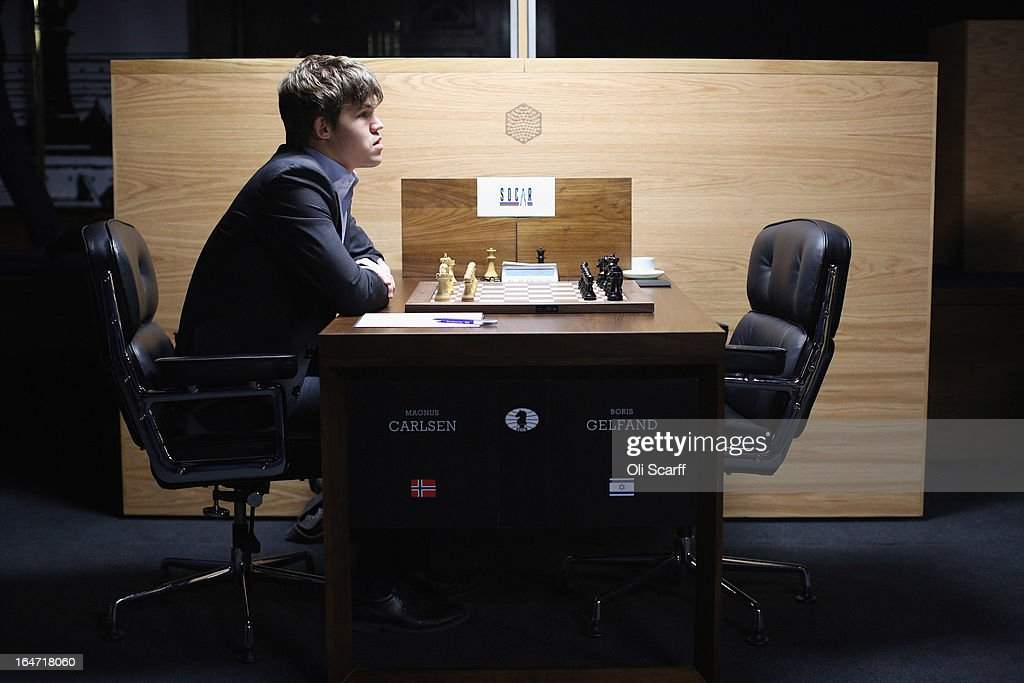 Magnus Carlsen, the world's number one chess player, prepares to play Israel's Boris Gelfand in the Candidates Tournament, at the IET on Savoy Place on March 27, 2013 in London, England. Carlsen, 22, from Norway, became the youngest player to be ranked world No.1 on January 1, 2010 and his current chess ranking (a peak rating of 2872) is the highest of all time. The Candidates Tournament features eight of the world's top chess players and will determine which player will challenge Viswanathan Anand for the title of World Champion in November 2013. The tournament will be the strongest of its kind in history and have a total prize fund of 510,000 Euros.