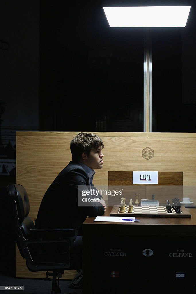 <a gi-track='captionPersonalityLinkClicked' href=/galleries/search?phrase=Magnus+Carlsen&family=editorial&specificpeople=2602660 ng-click='$event.stopPropagation()'>Magnus Carlsen</a>, the world's number one chess player, prepares to play Israel's Boris Gelfand in the Candidates Tournament, at the IET on Savoy Place on March 27, 2013 in London, England. Carlsen, 22, from Norway, became the youngest player to be ranked world No.1 on January 1, 2010 and his current chess ranking (a peak rating of 2872) is the highest of all time. The Candidates Tournament features eight of the world's top chess players and will determine which player will challenge Viswanathan Anand for the title of World Champion in November 2013. The tournament will be the strongest of its kind in history and have a total prize fund of 510,000 Euros.