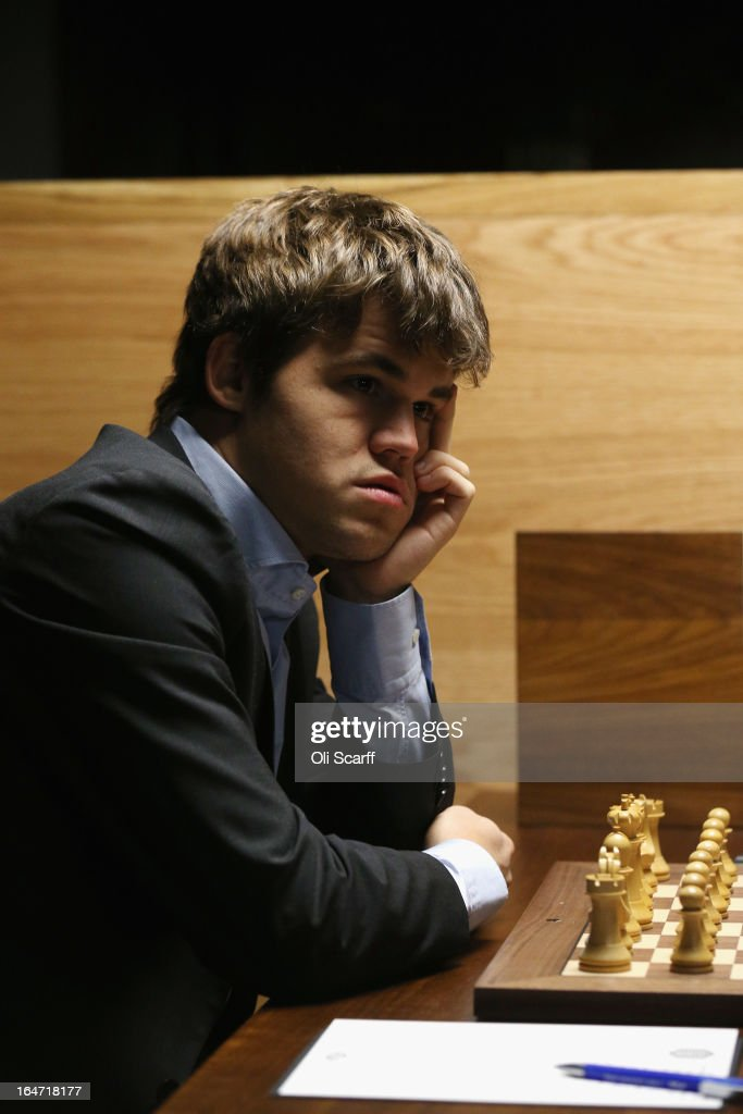 Magnus Carlsen, the world's number one chess player, prepares to play Boris Gelfand in the Candidates Tournament at the IET on Savoy Place on March 27, 2013 in London, England. Carlsen, 22, became the youngest player to be ranked world No.1 on January 1, 2010 and his current chess ranking (a peak rating of 2872) is the highest of all time. The Candidates Tournament features eight of the world's top chess players and will determine which player will challenge Viswanathan Anand for the title of World Champion in November 2013. The tournament will be the strongest of its kind in history and have a total prize fund of 510,000 Euros.