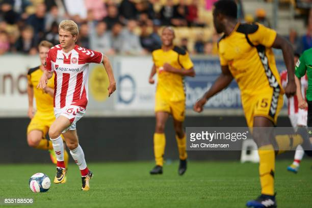 Magnus Christensen of AaB Aalborg controls the ball during the Danish Alka Superliga match between AC Horsens and AaB Aalborg at Casa Arena Horsens...