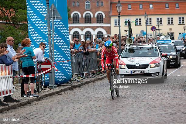 Magnus Cort Nielsen from Denmark riding for team Postnord Danmark during his Time Trial race in the PostNord Tour of Denmark in Nyborg Denmark on...