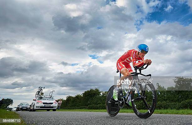 Magnus Cort of Teamnord Post Danmark in action during stage four at the Postnord Danmark Rundt race time trial in Nyborg on July 30 2016 in Nyborg...