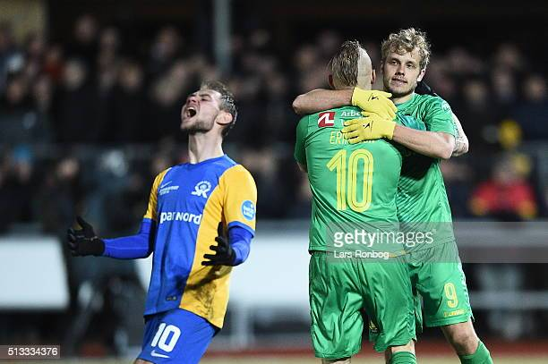 Magnus Eriksson and Teemu Pukki of Brondby IF celebrate after scoring their first goal during the Danish Cup DBU Pokalen quarterfinal match between...