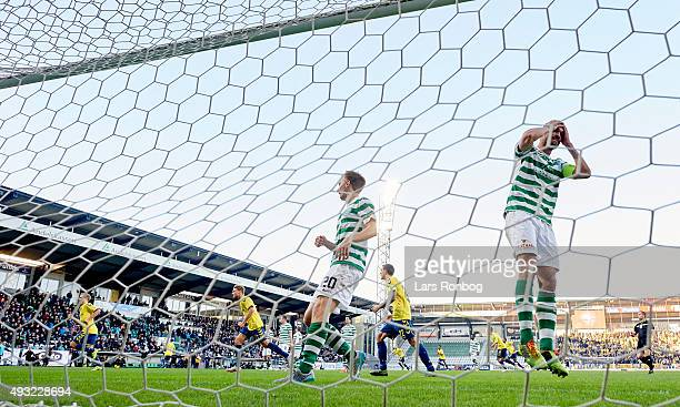 Magnus Eriksson of Brondby IF scores the 10 goal and Mikkel Rask of Viborg FF shows frustration during the Danish Alka Superliga match between Viborg...