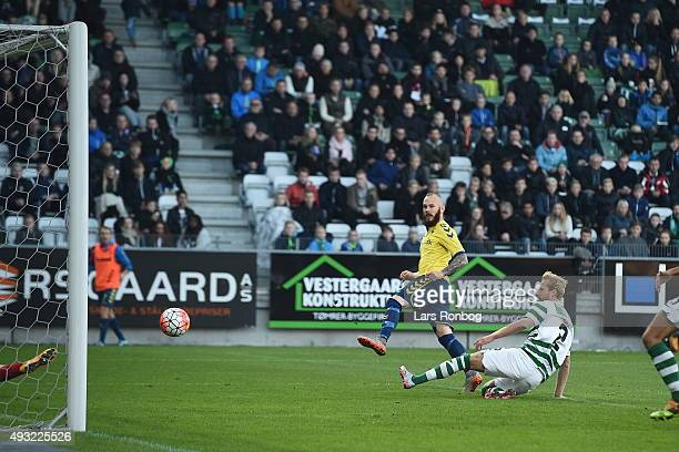 Magnus Eriksson of Brondby IF scores the 10 goal during the Danish Alka Superliga match between Viborg FF and Brondby IF at Energi Viborg Arena on...