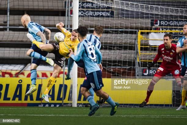 Magnus Eriksson of Djurgardens IF and Jon Jonsson of IF Elfsborg battles for the ball during the Allsvenskan match between IF Elfsborg and...