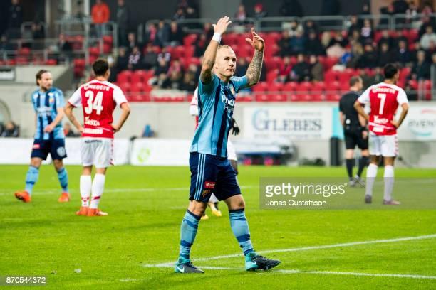 Magnus Eriksson of Djurgardens IF celebrate during the allsvenskan match between Kalmar FF and Djurgarden IF at Guldfageln Arena on November 5 2017...