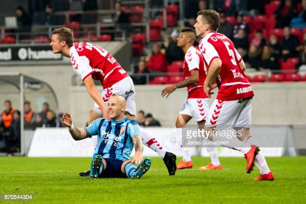 Magnus Eriksson of Djurgardens IF dejected during the allsvenskan match between Kalmar FF and Djurgarden IF at Guldfageln Arena on November 5 2017 in...