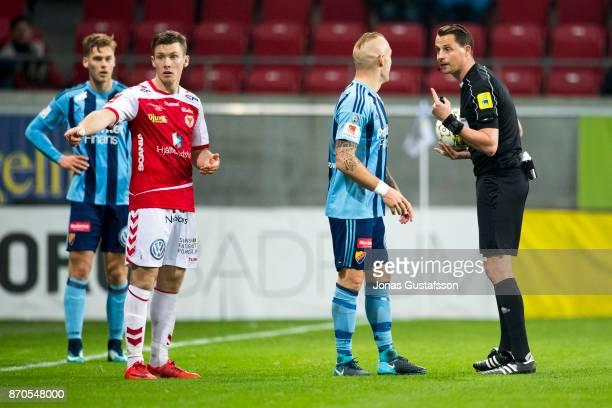 Magnus Eriksson of Djurgardens IF react during the allsvenskan match between Kalmar FF and Djurgarden IF at Guldfageln Arena on November 5 2017 in...